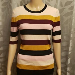 Philosophy Ribbed Striped Half Sleeve Sweater